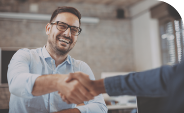 Company professionals shaking hands